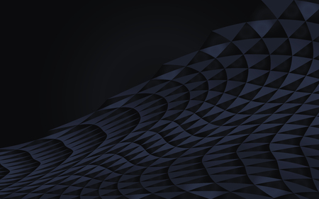 dark blue abstract geometric curved of triangles vector reserved half-shadow wave shadow volume horizontal element object deep background