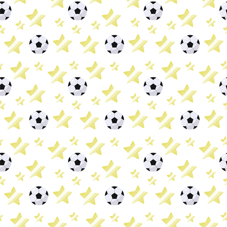 Black and white simple volumetric soccer ball with a glare and yellow stars repeating light seamless sport pattern on a white background Çizim