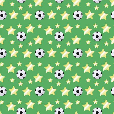 Black and white simple volumetric soccer ball and yellow stars repeating light seamless pattern sporty on a green background grass lawn Çizim