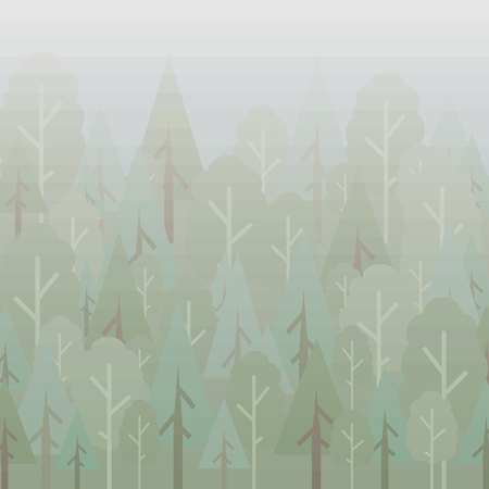 Vector geometric trees in an origami forest under a gray cold morning vector illustration background illustration.