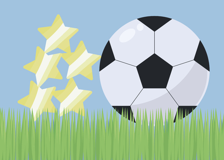 illustration with bright green grass football field blue sky and black and white simple soccer ball with gloss and shadow hill of yellow brilliant stars awards marks vector background. Vectores