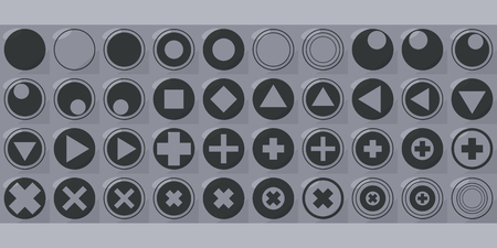 Square button vector with triangle icons triangles of squares of circles of crosses with shadow and highlight black outlines forty on a gray background