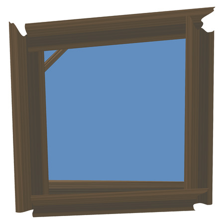 Blue day sky in a frame of brown wooden logs vector nature object isolated on white background drawing