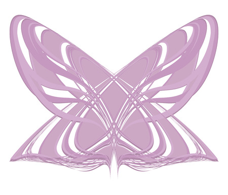pink lilac geometric butterfly Moth from the lines of the striped object isolated on the white background