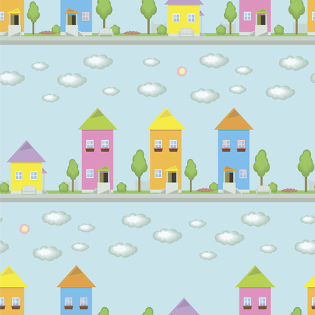 small multicolored houses with windows on a blue background of a street with trees bushes benches flower boxes with flowers on the windows, bright colors vector seamless pattern