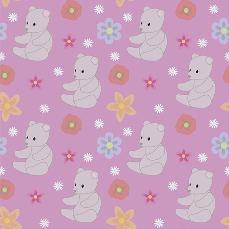purple pink background gray teddy bear baby toy blue flowers seamless vector pattern