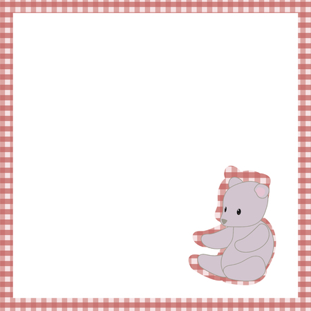 frame red cage white space gray teddy bear toy cute baby postcard vector background