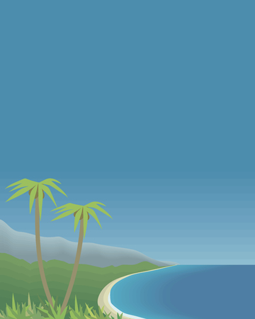 tropical bay with palm trees and mountains sea sky vertical postcard vector illustration Illustration