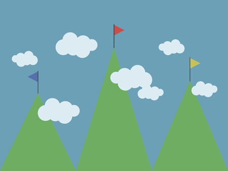 three green mountains of different heights multi-colored flags on tops white clouds blue sky vector illustration