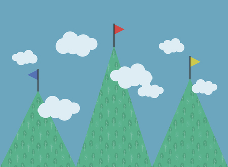 three green mountains with a pattenre deciduous trees of different heights multi-colored flags on tops white clouds blue sky competition vector illustration