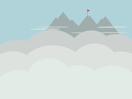 gray mountains cliffs in the distance flag on top climbing climbing translucent white thin clouds in the foreground light clouds clouds empty place vector illustration