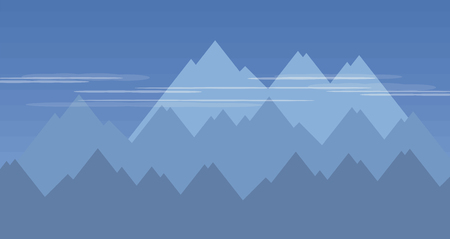 blue mountains cliffs distant climbing climbing translucent white thin sky clouds sports vector illustration 일러스트