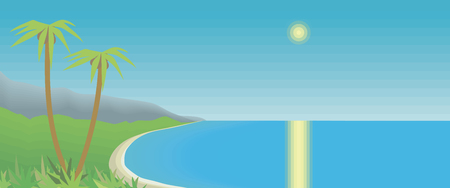 tropical bay with palm trees and mountains azure sea sky sun glare sunny path horizontal postcard drawing vector illustration Vectores