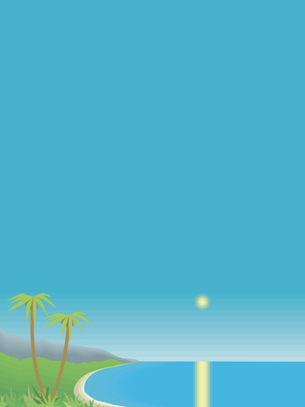 tropical bay with palm trees and mountains sea sky vertical postcard vector illustration 向量圖像