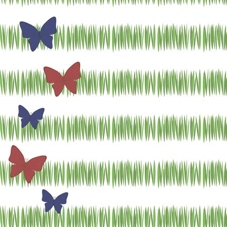 grüne einfache grüne Grasstreifen-Postkartenfrische-Tee-Vegetation mit roten und blauen Schmetterlingen mit dem linken Rand lokalisiert auf nahtlosem Muster des weißen Hintergrunds