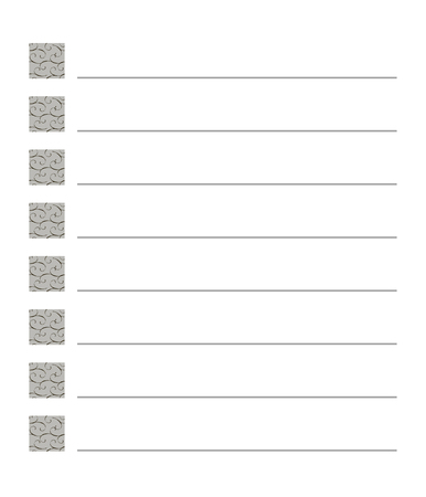 list checkbox squares with a pattern of curls spirals gray lines striped isolated on white lines monochrome