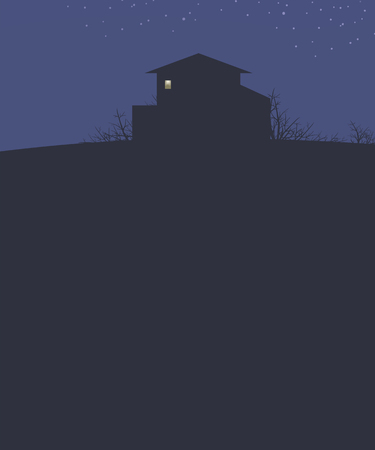blue landscape sky with stars house on a hill dark outline bushes branches and bright light to a rectangular box vector illustration vertical dark empty space bottom for text.