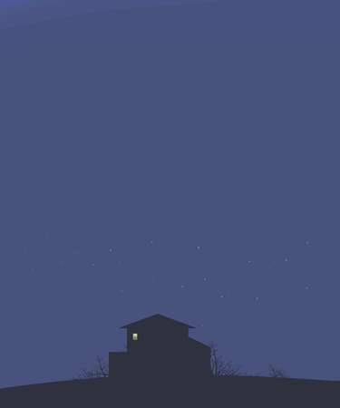 dark landscape sky with stars night house on a hill dark outline bushes branches and bright light to a rectangular window vector illustration vertical dark blank space on top for text.