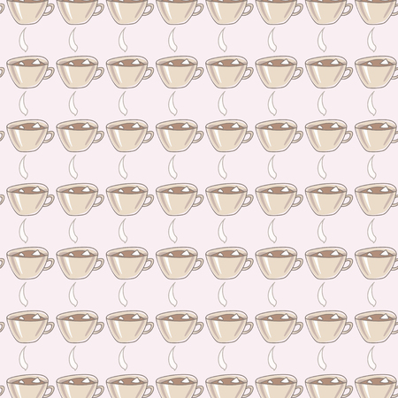 Ceramic paillette with contour drawn with cocoa drink and marshmallow gray smoke bar on light coffee background seamless pattern vector background Illusztráció