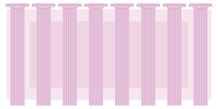 pink color classic columns series eight on a background of pink rectangle vector illustration Greek classical theater background announcement education