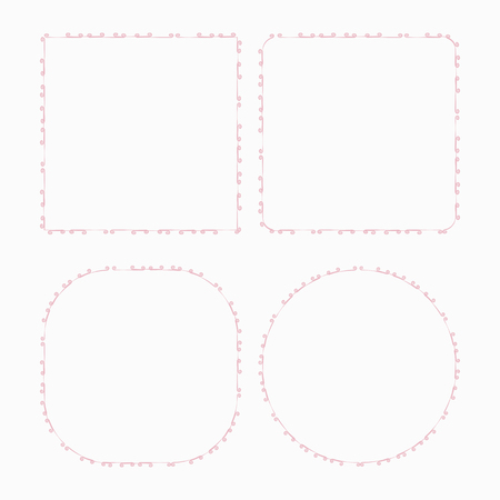 thin simple pink delicate frame decoration decor stroke curb frame princess square circle vector isolated on white background