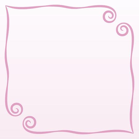 cadre rose simple boucles illustration vectorielle carte postale fond de page enregistrement carré sur fond rose pâle espace vide pour dire un poème félicitation Vecteurs