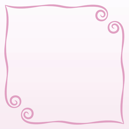 frame pink simple curls vector illustration postcard page background record square on a pale pink background empty space for saying a poem congratulation Illustration