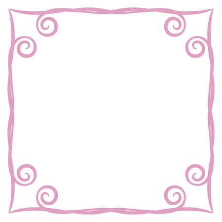 frame pink simple curls vector illustration postcard page background record square isolated on white background object empty space for saying poem congratulation