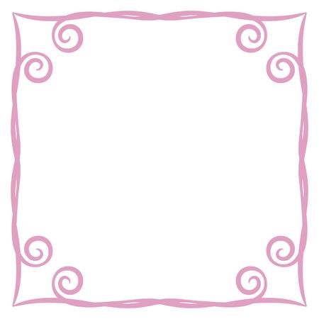 marco rosa simple rizos ilustración vectorial postal página fondo registro cuadrado aislado sobre fondo blanco objeto espacio vacío para decir poema felicitación