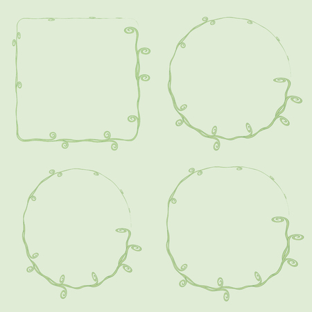 vector thin with curls vegetative green loach grass frame square rounded circle on a light green background for inscriptions of photos