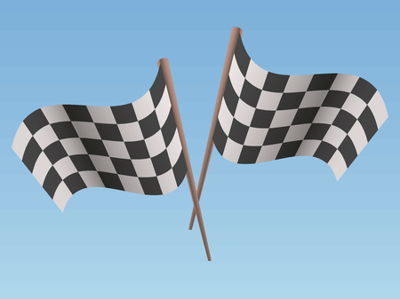 Two black and white racing sports crossed a flag with a shadow on a light sky background vector illustration.