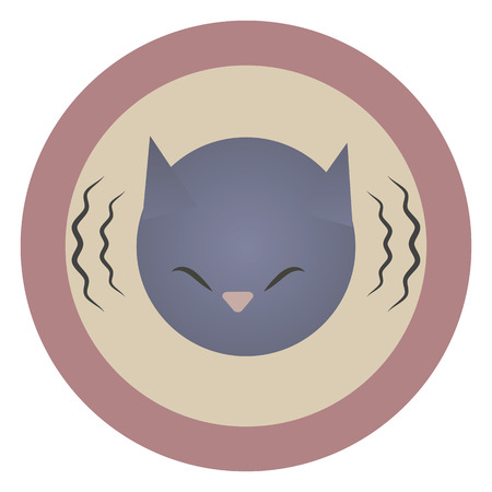Vector round flat pink icon icon head of a gray blue mournful painted cat with lines of sound vibration isolated on a white background