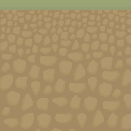 Cutting the soil from the inside under the grass and the earth is brown with stones vector illustration. Фото со стока - 104919300
