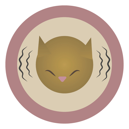 Vector round flat pink icon icon head of a red mournful painted cat with lines of sound vibration isolated on a white background