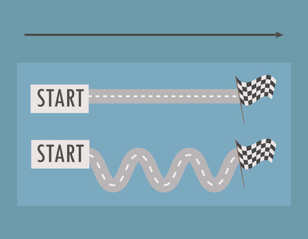 Two parallel roads straight and winding from left to right from the tablets with the word start to the finish black and white flag on a bright blue background arrow vector illustration. Vettoriali