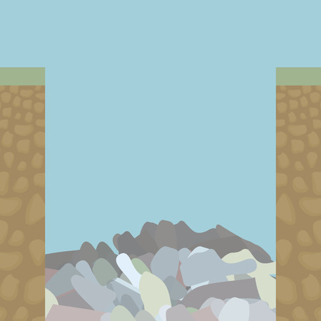 Two edge cut of soil slice from inside under grass, a brown earth with rounded stones and a pit filled with garbage and waste on a background of a blue monophonic sky drawing vector illustration.