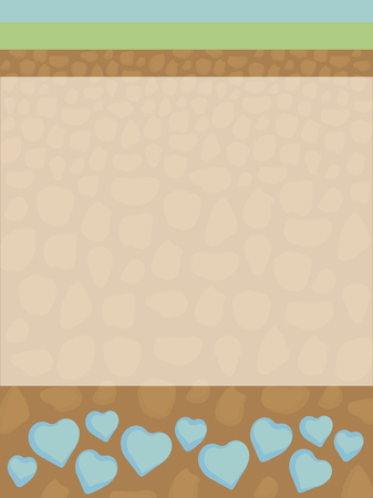 Cutting the soil from the inside under the green grass and the orange earth with stones with blue hearts from spring water and a area for text in the middle of a vector illustration.