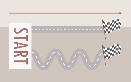 パスベクトルイラストのライトグレーの背景矢印方向に、看板の開始から終了フラグまで直線で左から右に曲がった2本の平行道路。