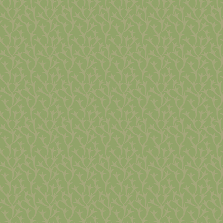 Vector green floral natural seamless pattern with light brown branch background. Illustration