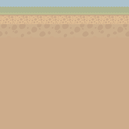 Brown illustration of a cut of light soil under the ground with stones, grass, a strip of sky vector illustration with an area for text from below. Иллюстрация