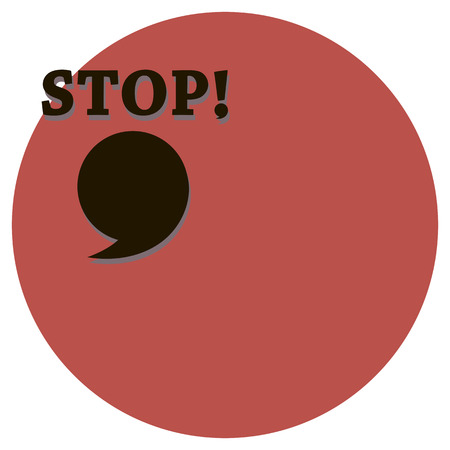 A stop sign with a voxlic symbol and a large comma a cloud for replicas on a circle background a vector shifted to the left isolated on a white background.