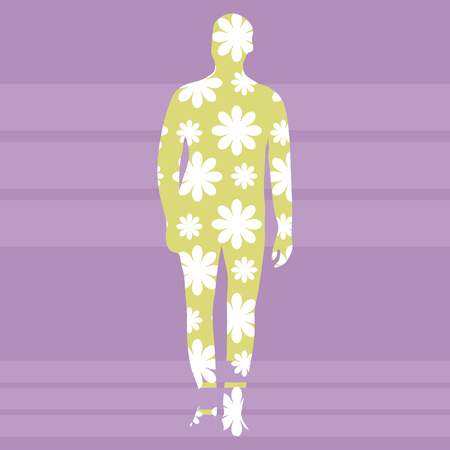 Silhouette of a man in full of yellow color with a pattern of white flowers on a background of violet stripes square vector background.