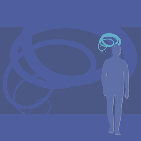 Blue silhouette of a man with a shadow on the right with a spiral of head on a background of doubled spiral meditations vector illustration.