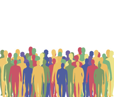 A crowd of people from multi-colored mens silhouettes waiting company stands at the bottom, a blank white area at the top of the illustration