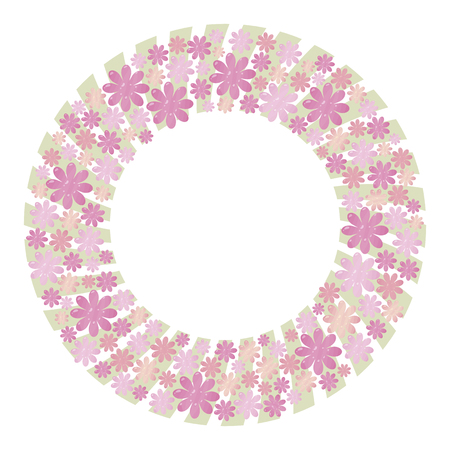 Pink and lilac vector wreath made from elements of flowers and hearts with light green pastel color strips of boards on the bottom layer of an object isolated on white background.