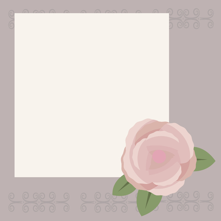 White square sheet for writing or congratulation on a light gray background with a pattern, pink-brown rose with green leaves in the bottom right corner of the vector.