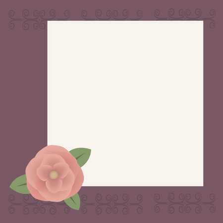 White square sheet for writing or congratulation on a lilac background with a pattern, peach-colored rose voluminous flower with green leaves in the lower left corner illustration.
