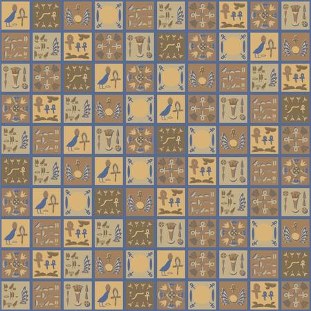Square vector Egyptian ornaments hieroglyphs brown yellow gray ceramic tiles vegetable mosaic folk hand maid souvenir seamless pattern.  イラスト・ベクター素材