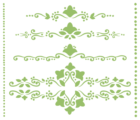 Set of green openwork dividers for text from curls, outlines of flowers, leaves and dots vector isolated on white background.