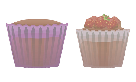 Two vector sweet cupcakes in paper mugs with red strawberry object, isolated on white background